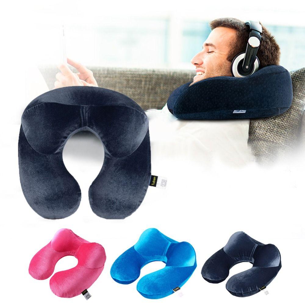 U Oreiller Voyage pour Avion Gonflable Cou Oreiller Voyage Accessoires Confortable Oreillers pour Sleep Home Textile 3 Couleurs