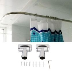 Praktis Stainless Steel Brushed Nikel Melengkung Mandi Batang Tirai Mandi Daerah Bathtub Aksesori LU Jenis Mandi Tirai Batang