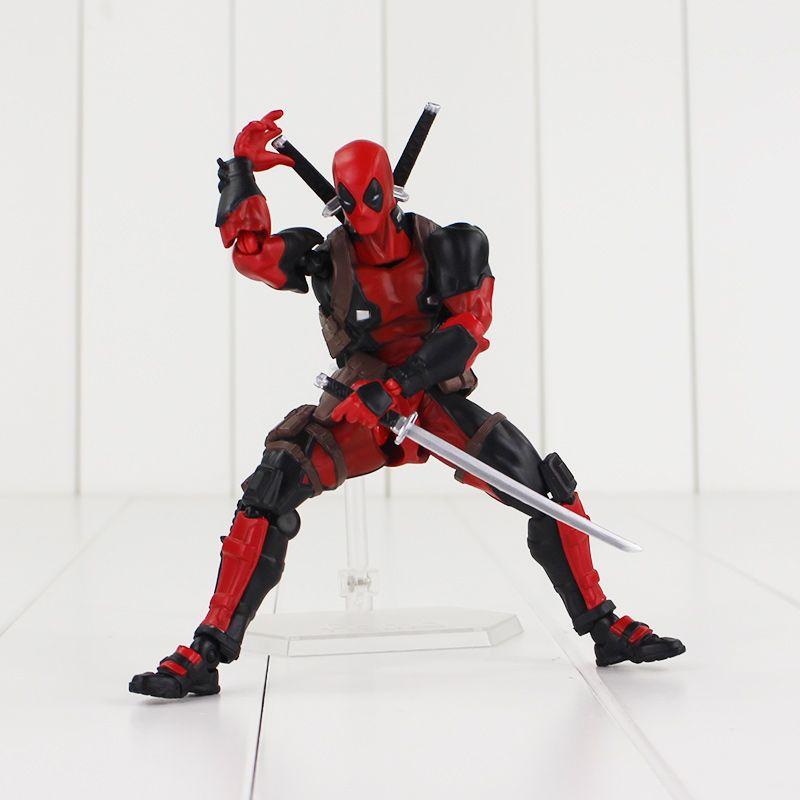 16cm Deadpool Revoltech X-Men Action Figure Wade Winston Wilson Doll With Sword Gun Weapon Cool Model Toy
