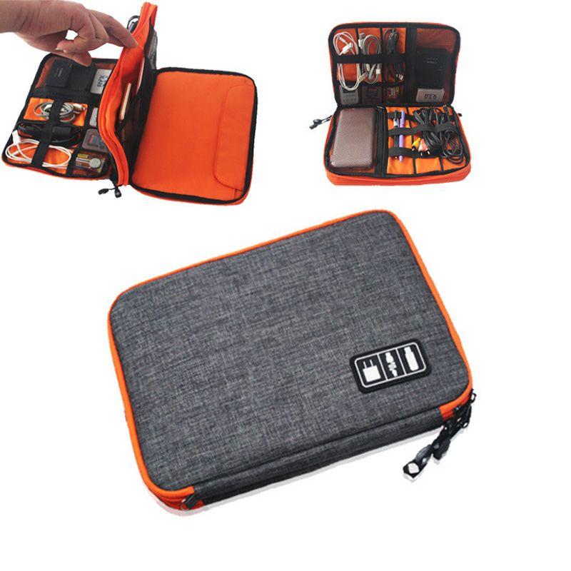 Étanche À Double Couche Sac De Rangement De Câble Électronique Organisateur Gadget Voyage Sac USB Écouteur Cas Numérique Organizador