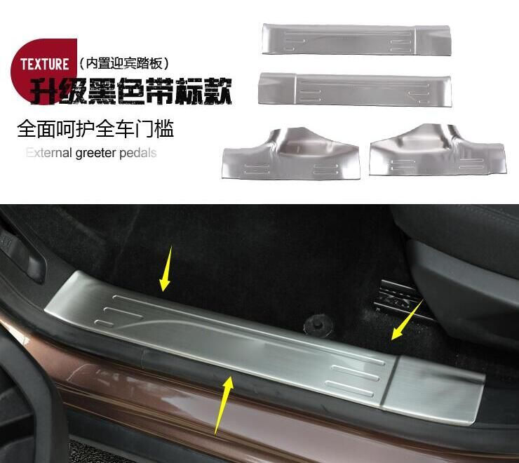 car-styling case for Peugeot 2008 2014 2015 2016 Stainless steel threshold 4pcs/set Door sills Car styling