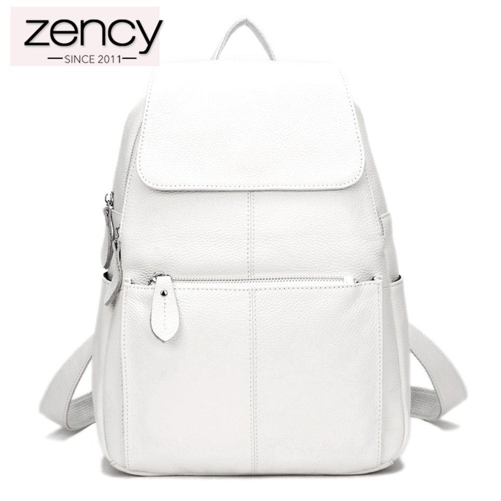 Zency Fashion Color 100% Genuine Leather Casual Women's Backpacks Brief Casual Knapsack Laptop Bag Ladies Pocket Girl Schoolbag