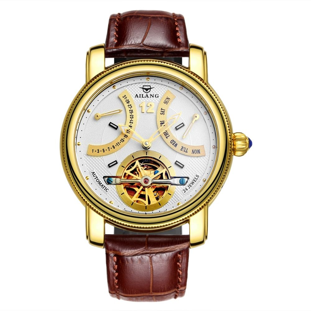 2017 New Automatic Mechanical Watch Men Fashion Multi-function Calendar Leather Hollow Skeleton Mens Watches Relogio Masculino