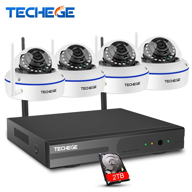 Techege 4CH Wireless NVR Kit 1MP HD Camera System Vandalproof Outdoor IP WIFI Camera Surveillance Kit Night Vision APP Remote