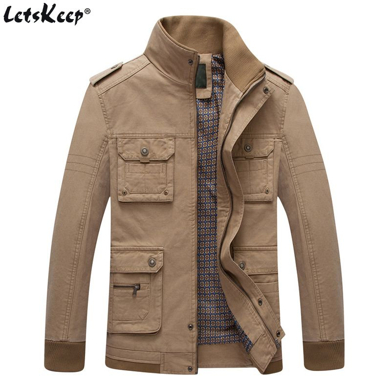 LetsKeep Tactical windbreaker jacket men stand collar casual military <font><b>outwear</b></font> coat mens autumn Multi-pocket jacket EU size MA401