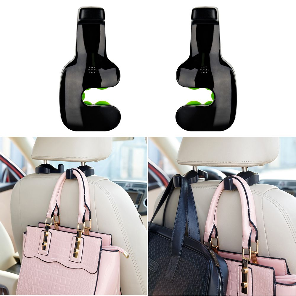2PCS Black Car Styling Storage Hook Clip Auto Car Seat Hook Hanger Purse Bag Holder Organizer Holder Car Interior Accessories
