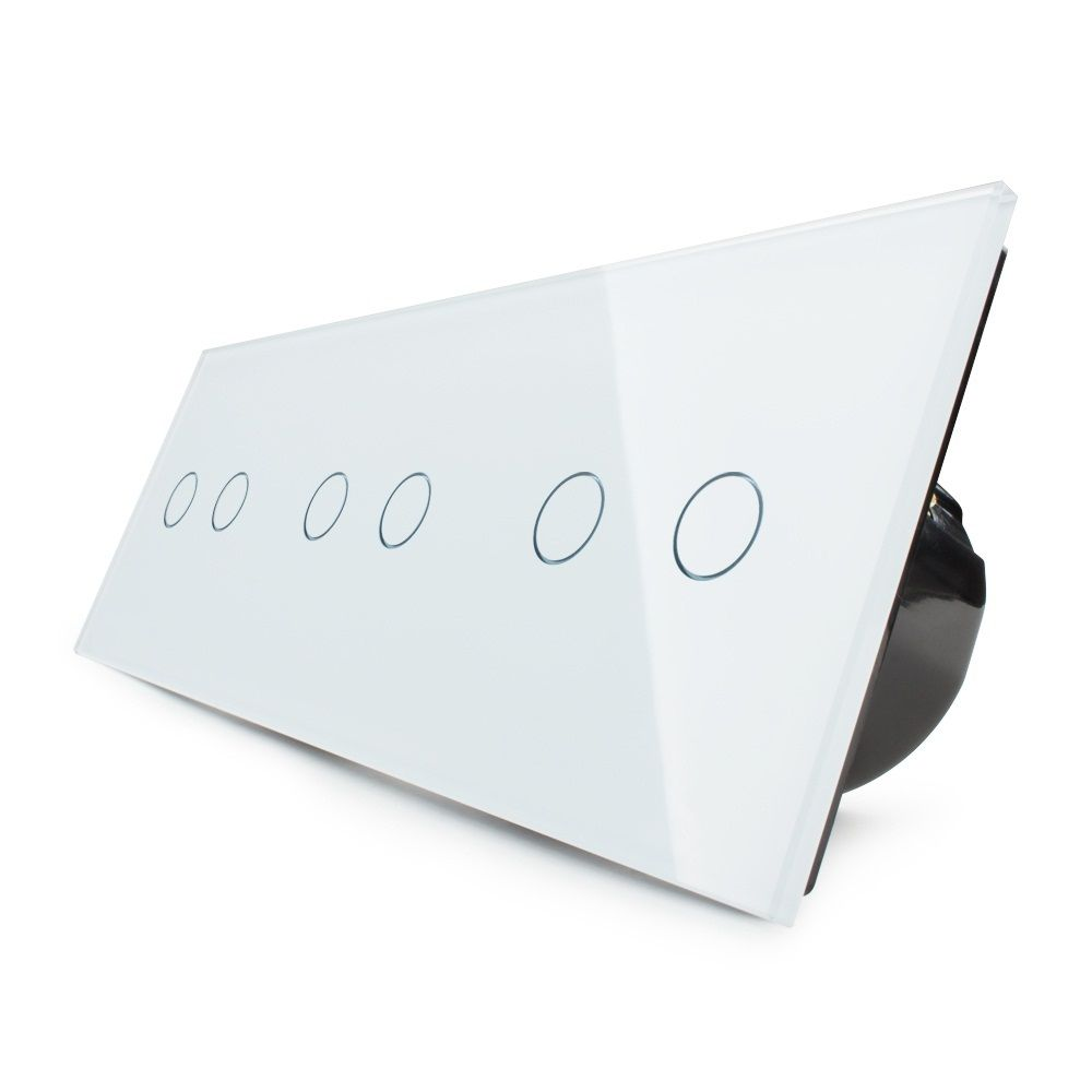 LIVOLO EU Standard, Touch Switch, Free Combination Luxury Wall Triple Touch Switch, OS-06-1/2,With White Crystal Glass Panel