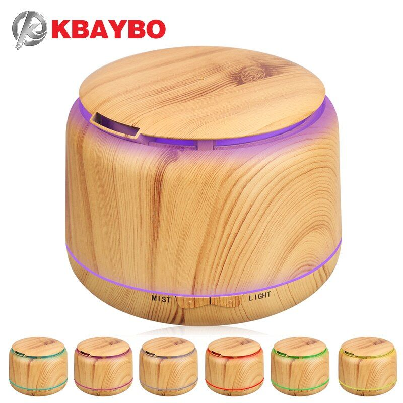 300ml Ultrasonic Humidifier Aroma Essential Oil Diffuser Wood Grain Cool Mist Humidifier aromatherapy diffuser With 7 Color LED