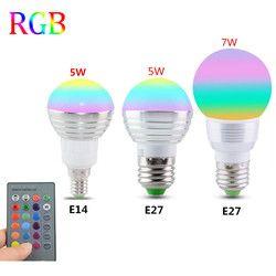 E27 E14 светодиодный LED 16 изменение цвета RGB Волшебная осветительная лампа 85-265 в 110 в 120 В Светодиодный прожектор в RGB 220 + ИК-пульт дистанционного ...