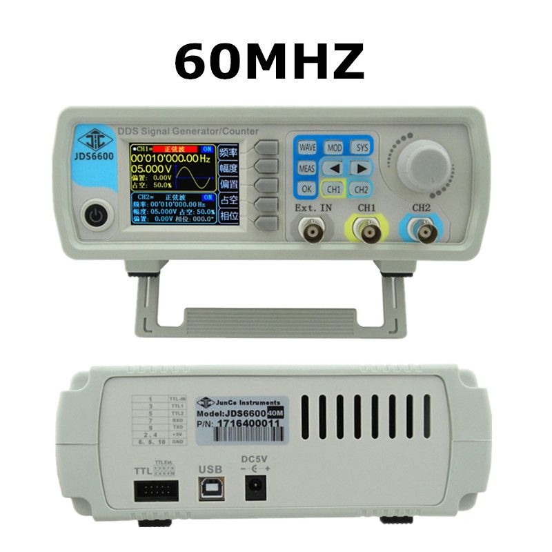Digital Control JDS6600 MAX 60MHzDual-channel DDS Function Signal Generator frequency meter Arbitrary sine Waveform 45% off