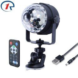 ZjRight IR Remote RGB LED Crystal Magic Rotating Ball Stage Light 4m USB 5V Colorful ktv DJ light disco light Party Effect Light