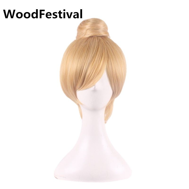 Woodfestival блондинка короткие волосы косплей парик блондинка прямо Фея парик жаропрочных волокна женщины синтетические парики