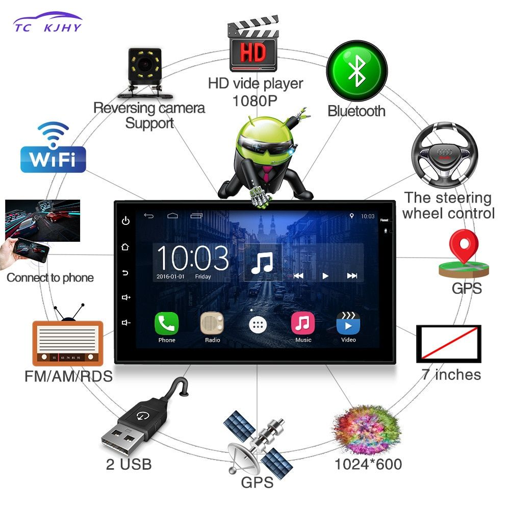 2 Din Car Radio 7 Inches Dvd Automotivo Android Player Navigation Reversing Camera GPS Bluetooth Steering Wheel Control Punto