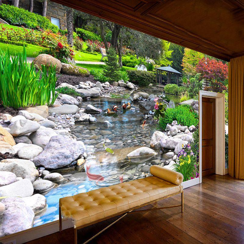 Benutzerdefinierte Fotowand Papier 3D Park Grüne Pflanze Creek Natur Landschaft Wand Malerei Wohnzimmer Schlafzimmer Hintergrund Wandbild Tapete
