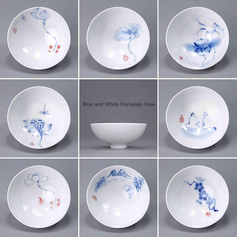 Tasses à thé en céramique Kung FuTea peintes à la main en porcelaine bleue et blanche Jingdezhen de chine E