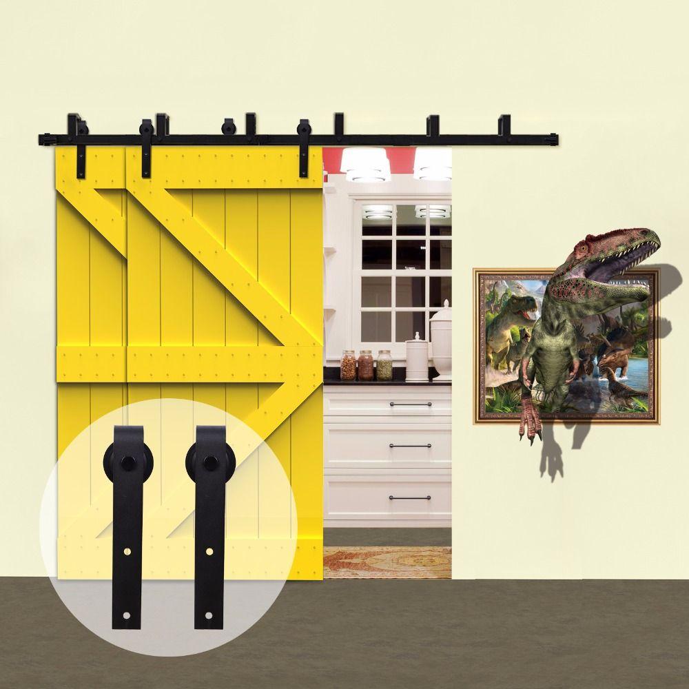 LWZH Land Stil Rustikalen Holz Tür Bypass System Schiebe Barn Door Hardware Kit Schwarz J-Förmigen Rollen für Innen doppel Tür