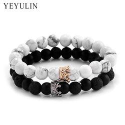 À la mode Noir Blanc Pierre Perles avec Or Argent Couleur Alliage Couronne Bracelet Pour Femmes Hommes Couple Bracelets Bijoux