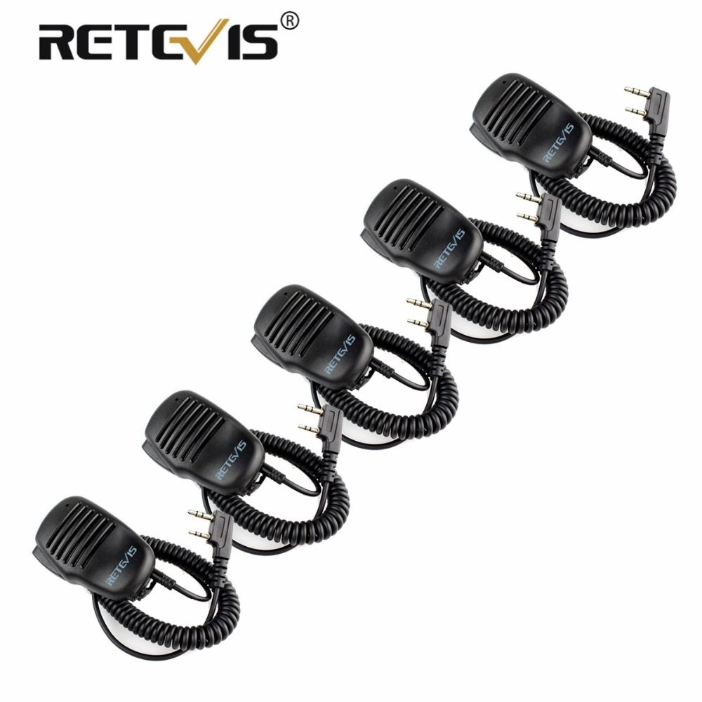 5pcs Remote Speaker Microphone 2Pin PTT Mic Walkie-Talkie Accessories For Baofeng UV5R BF-888s Retevis RT5R H777 RT7 For Kenwood