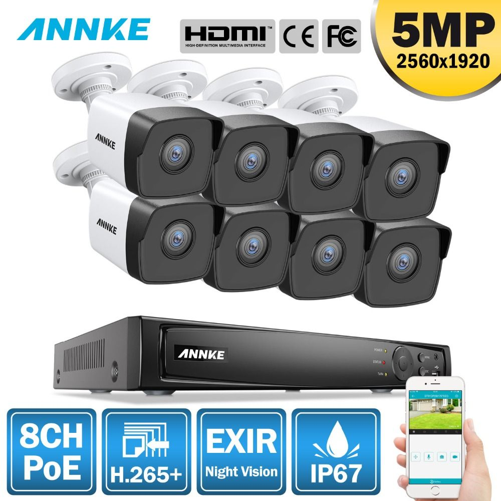 ANNKE 8CH HD 5MP POE Netzwerk Video Security System 8MP H.265 NVR Mit 8X5 megapixel 30m EXIR nacht Vision Wetter WIFI IP Kamera