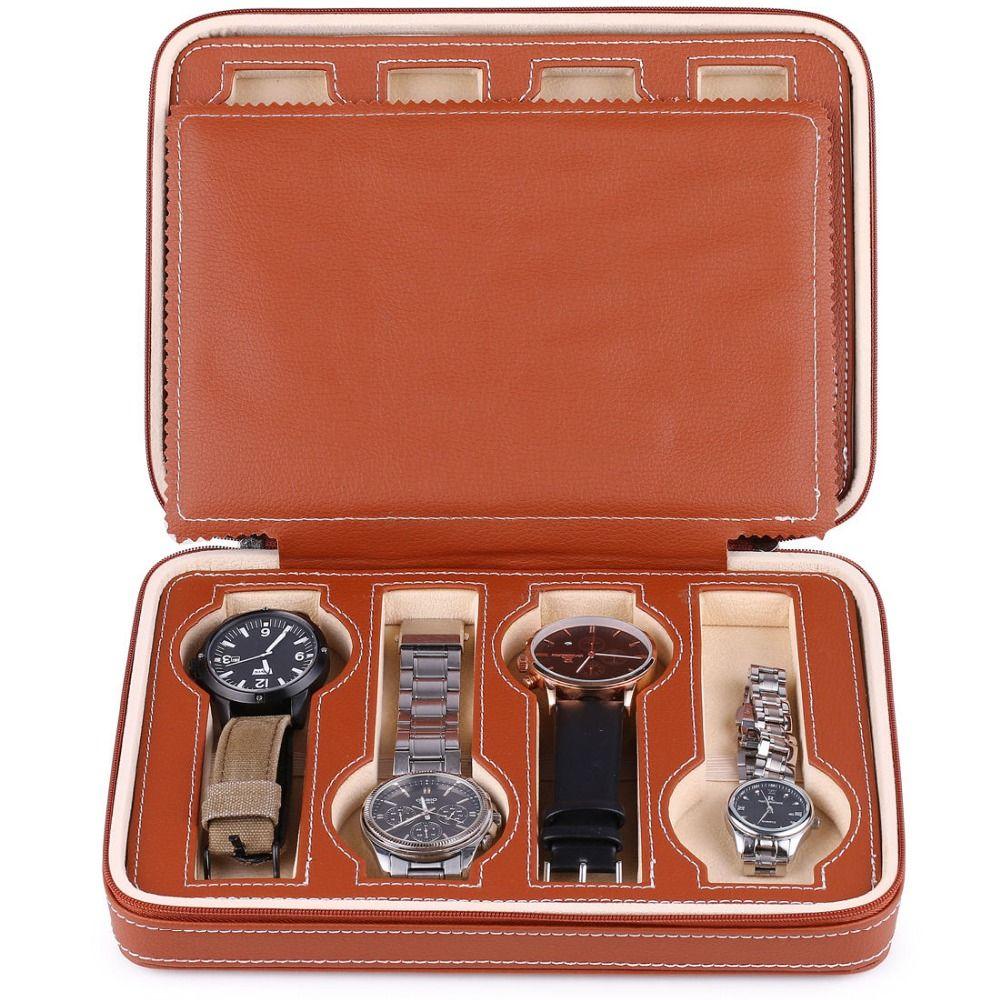 8 grilles montre boîte de rangement en cuir PU montre montres affichage boîte de rangement plateau fermeture à glissière voyage montre collecteur