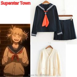 Mon Héros Milieu Universitaire Himiko Toga Costume Japonais Anime Cosplay Costume School Girl JK Uniforme Chandail Cardigan Vêtements