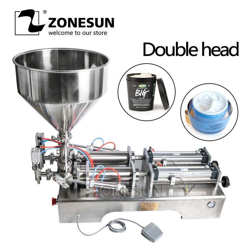 ZONESUN Doppel Köpfe Füllung Maschine Automatische pneumatische trichter Creme Shampoo Feuchtigkeitscreme Lotion Kosmetische Öl Honig Lebensmittel Paste