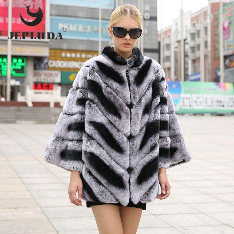 JEPLUDA RY female Rex Rabbit Coat Bat Sleeved Mandarin Collar Warm Female Thickening Winter Jacket Women Real Natural Fur Coats