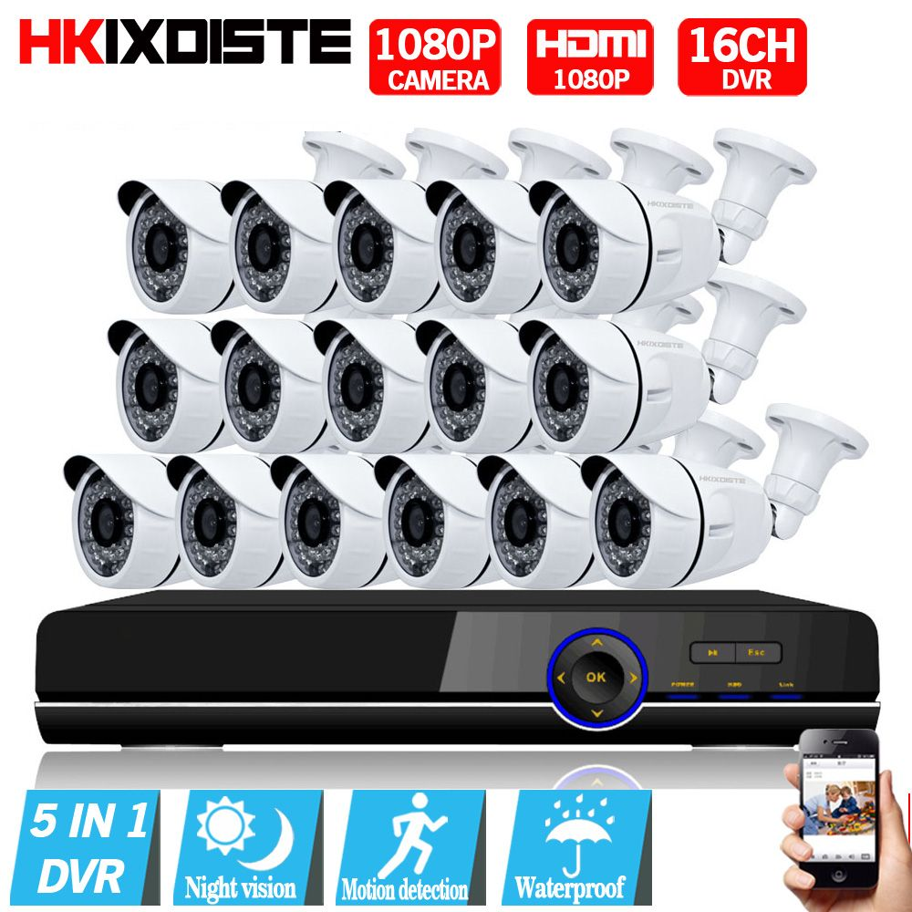 1080P AHD Camera 16CH System Kit CCTV 16 Channel AHD DVR Recorder+IR Outdoor Bullet 2MP AHD Camera System Waterproof nightvision