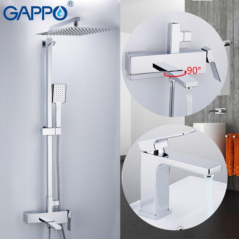 GAPPO dusche system wand dusche mixer messing dusche wasserhahn mixer wand montiert bad mischer Bad Dusche Set
