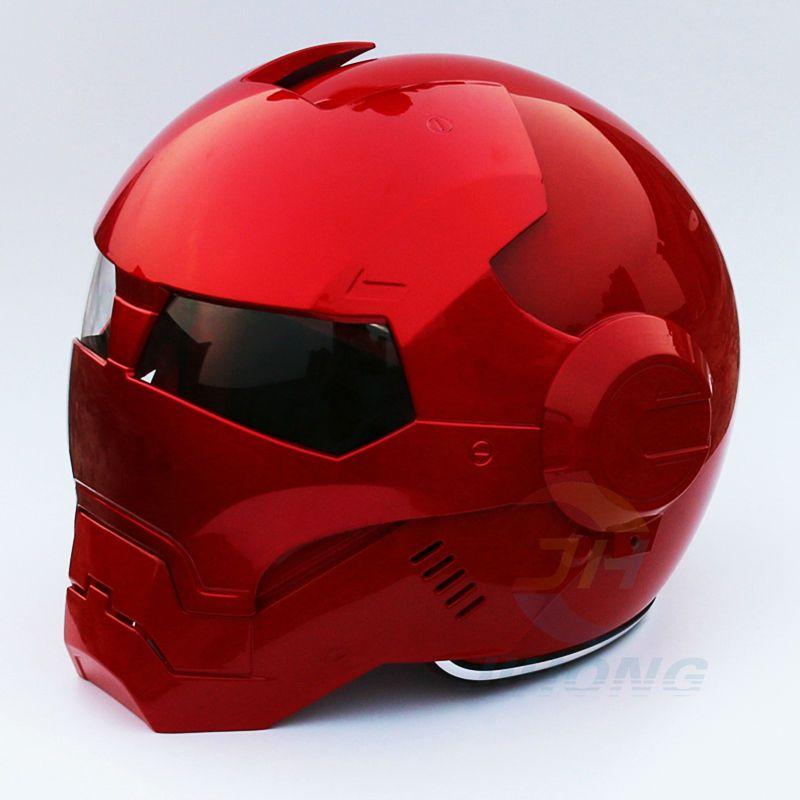 2016 NOUVEAU Plein Lumineux Rouge MASEI moto casque IRONMAN Iron Man casque demi casque open face casque casque motocross 610