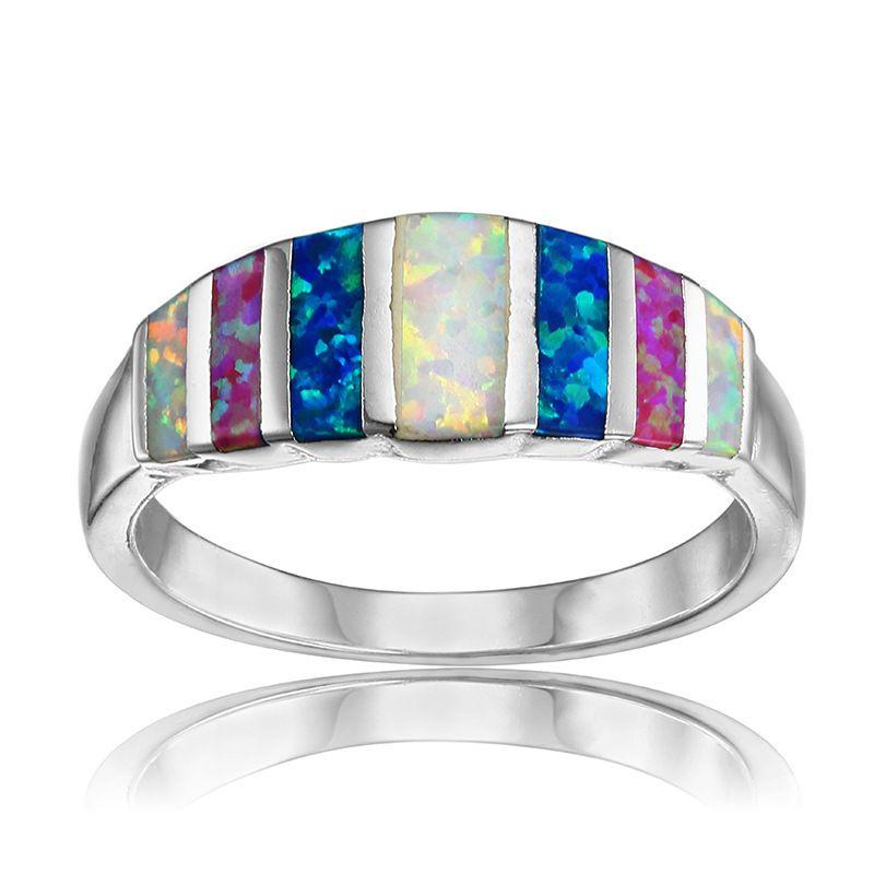 AMORUI Arc-En-Opales Anneaux De Mariage pour les Femmes Bleu/Rose/Blanc/Vert Opale de Feu Engagement Silver Ring Bague bijoux Femme Bijoux
