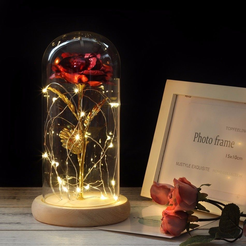 HOT Rose In Flask Beauty And The Beast Gold-plated Red Rose With LED Light In Glass Dome For Wedding Party Mother's Day Gift