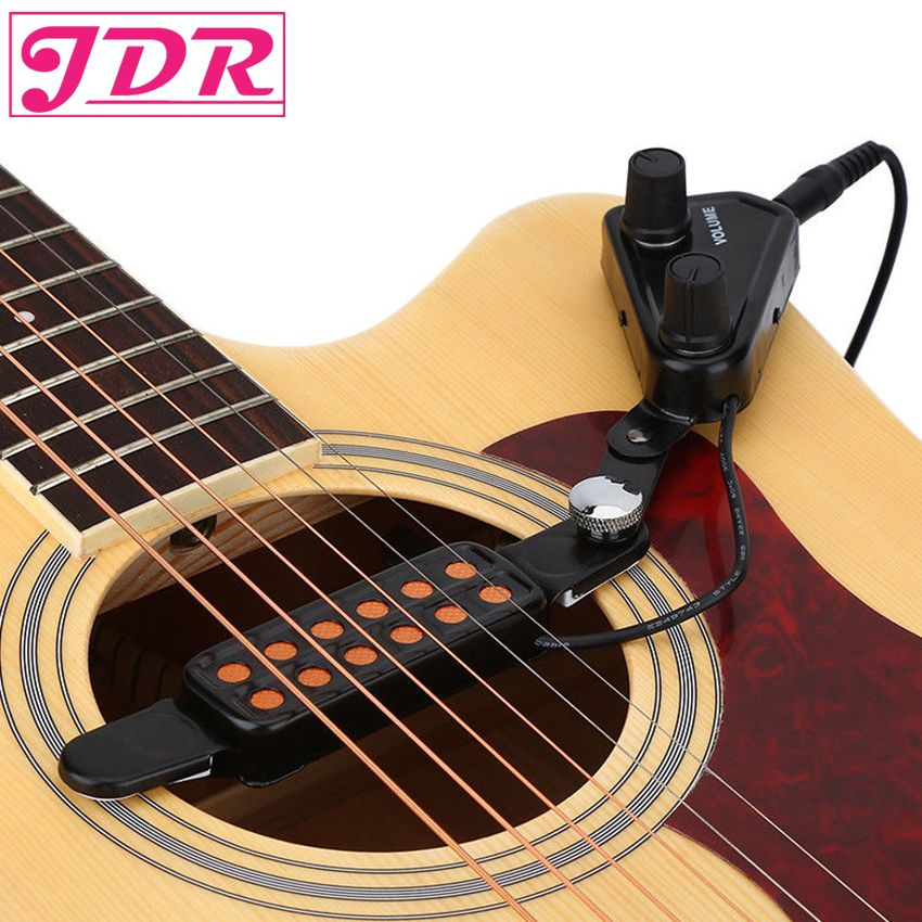 JDR 12-hole Acoustic Guitar Sound Hole Pickup Magnetic Transducer With Tone Volume Controller 3M Cable  Guitarra Accessories