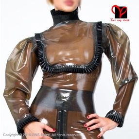Sexy transparent black with frills Latex blouse long sleeves Rubber uniform shirt top Gummi clothes clothing plus size SY-023