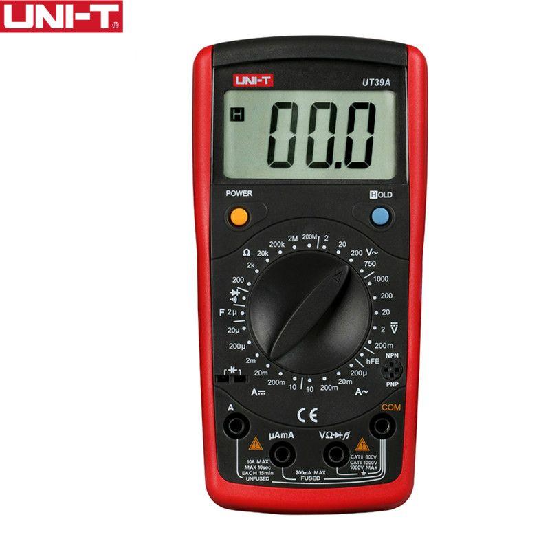 UNI-T UT39A Modern Digital Multimeters Manual Range Cap Ohm Transistor Diode Tester Data Hold Battery Test