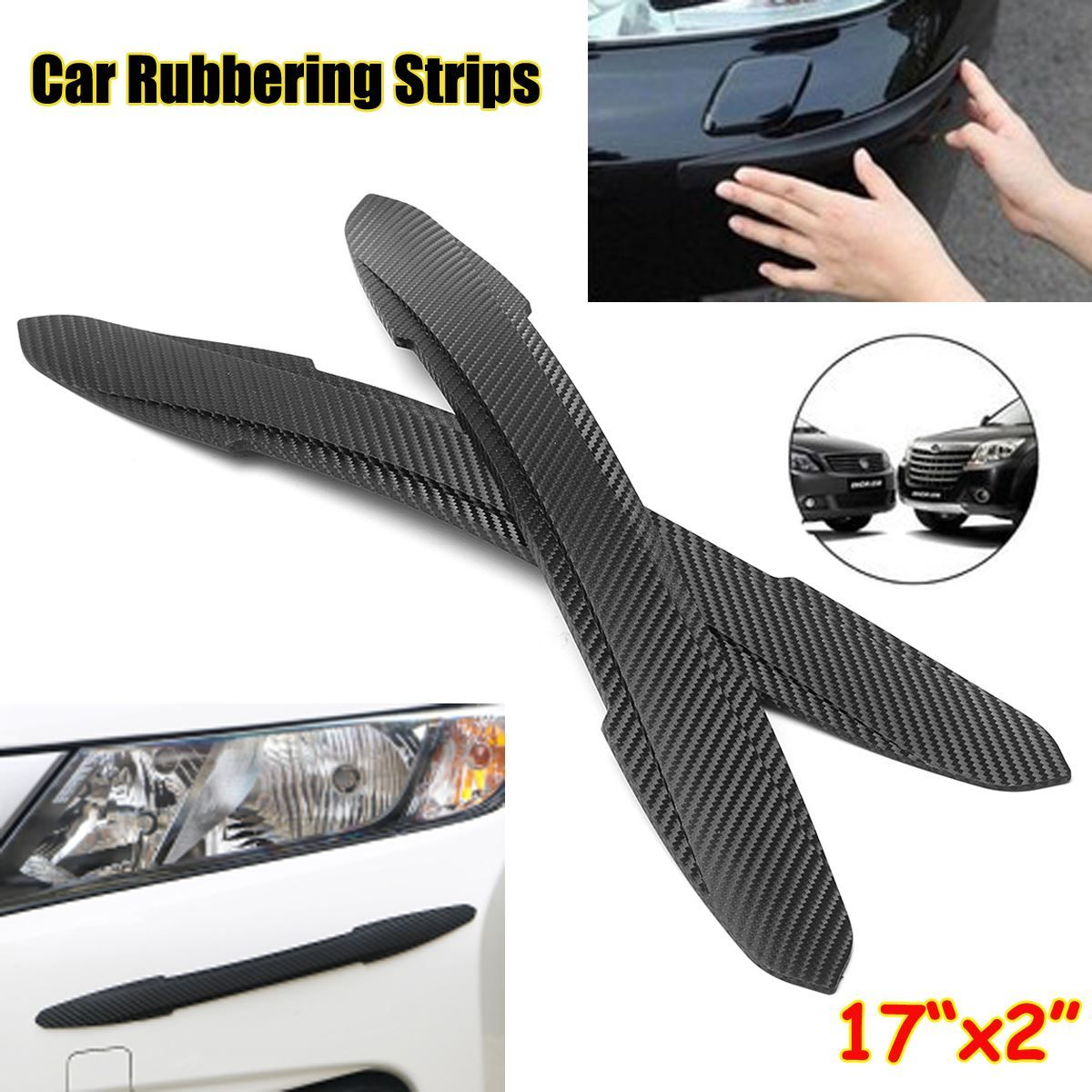 Pair Car Auto Rubber Front Rear Bumper Edge Guard Protector Scratch Sticker Strips