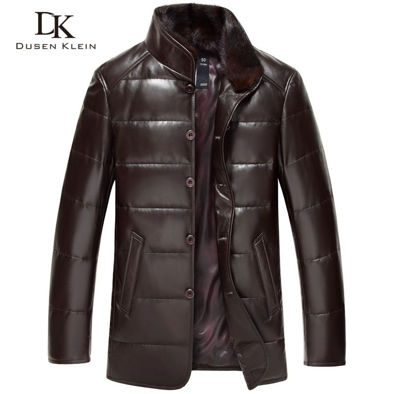 Dusen Klein leather Down Coat men Luxury Genuine Leather High quality mens sheepskin Winter jacket Black/Brown DK075