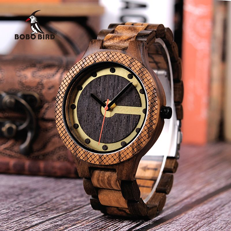 BOBO BIRD Timepieces Men Wooden Watch with Dial Sport New Design Wristwatch Relogio Masculino in Wooden Box Accept Drop Shipping