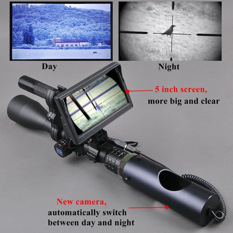 Night <font><b>Vision</b></font> Riflescope Outdoor Hunting Scopes Optics Sight Tactical Digital Infrared With Battery Monitor and Flashlight