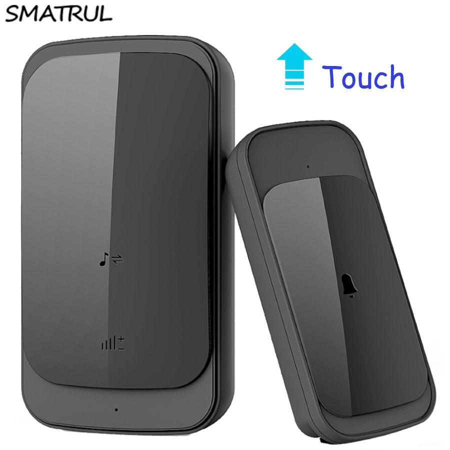 SMATRUL touch sonnette étanche sans fil prise EU 280 M longue portée smart porte cloche carillon pas de batterie 1 bouton 1 2 récepteur
