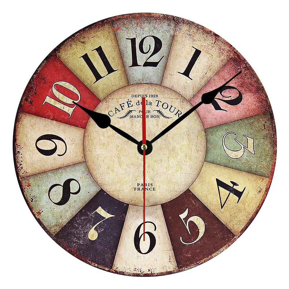 2019 horloge murale en bois MDF chaud Design moderne Vintage rustique Shabby Chic maison bureau café décoration Art grande montre Jagermeister