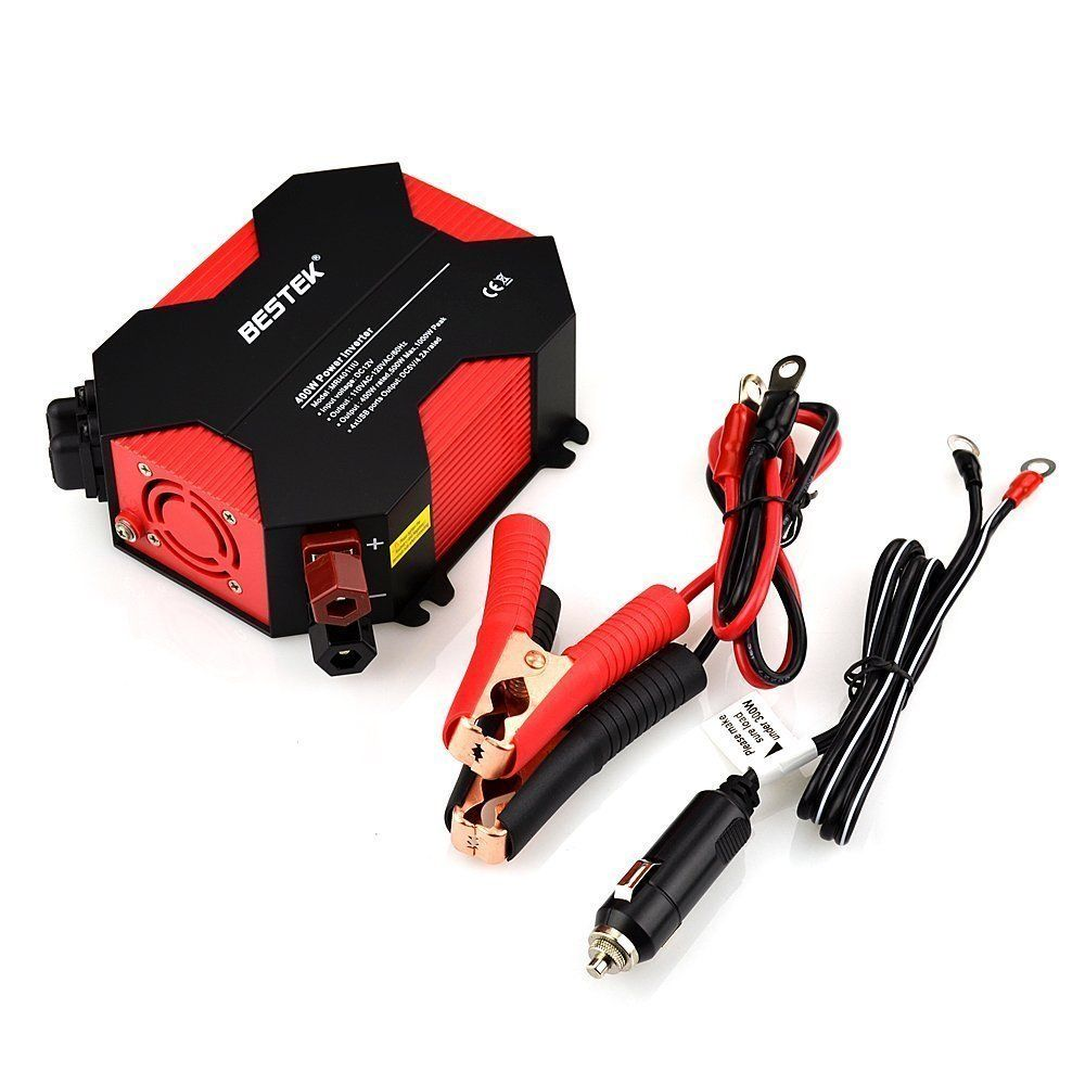BESTEK 400W Power Inverter DC 12V To AC 110V Car Adapter 5A 4 USB Charging Ports 12V DC AC Invertor Portable Auto Power Supply