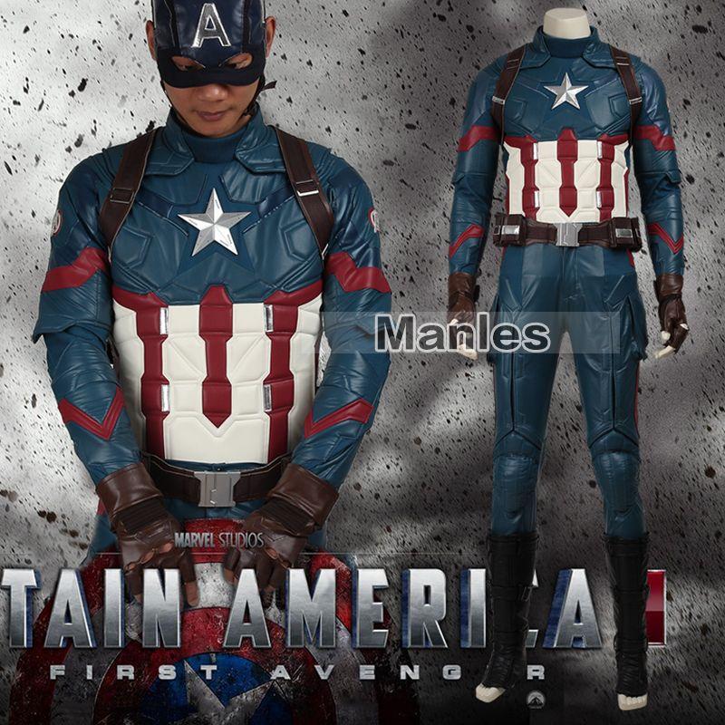 Movie Coser Captain America 3 Civil War Costume Steve Rogers Cosplay Costume Superhero Suit Halloween Outfit Adult Men Leather
