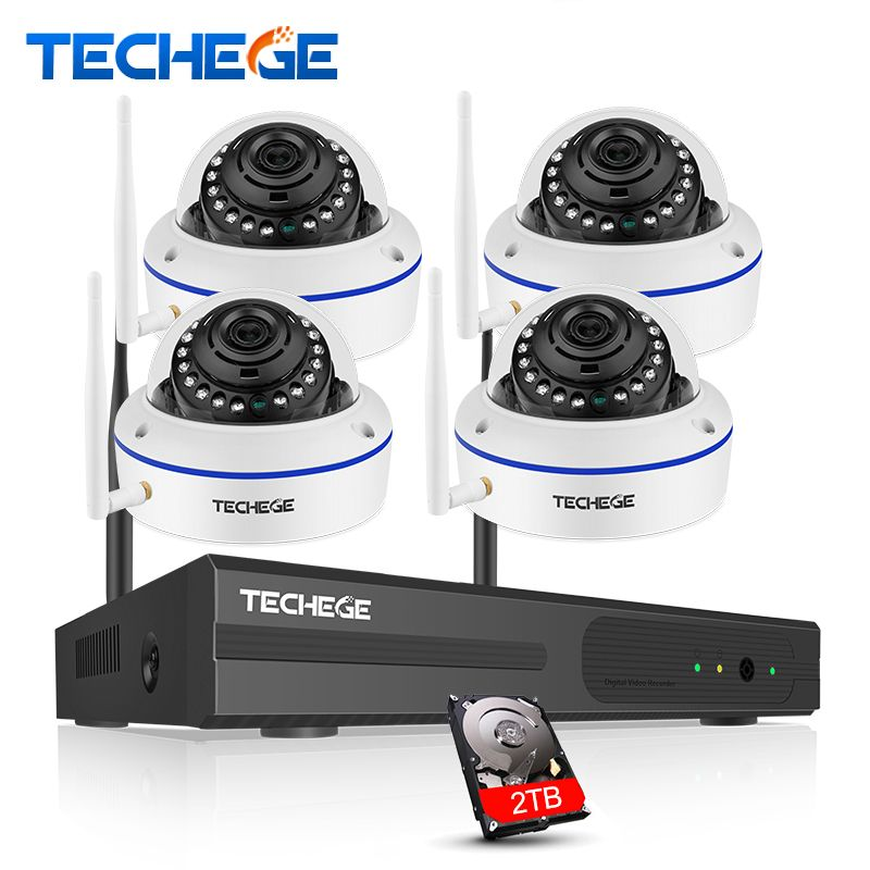 Techege 4CH Wireless NVR 960P CCTV WiFi System 1.3MP IR Outdoor indoor Vandalproof IP Camera Security Video Surveillance Kit