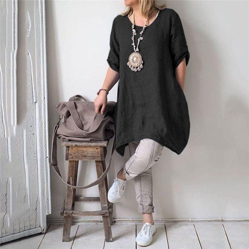 Fashion Women Summer Plus Size 5XL Midi Dress Casual Female Cotton Linen Dress Boho Dresses Clothes Robe Femme Dropshipping 2J