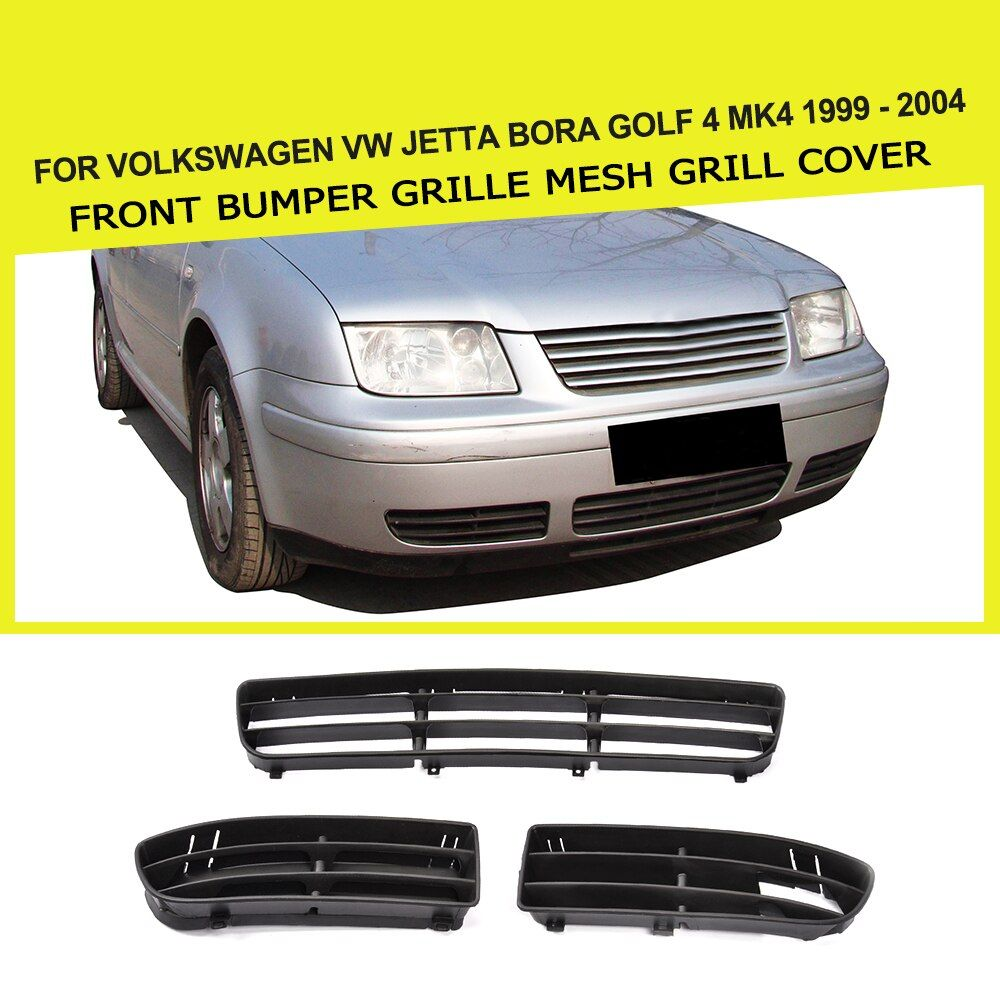 ABS Black Front Bumper Lower Side Vent intake Grille mesh Grill Cover For Volkswagen VW Jetta Bora Golf 4 Mk4 1999 - 2004 3PCS