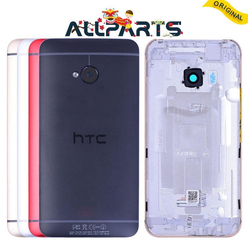 Unique SIM D'origine Logement Pour HTC Un M7 Quatrième De Couverture Batterie porte avec Camera Lens Remplacement Rouge Or Argent 801e 801n 801 s