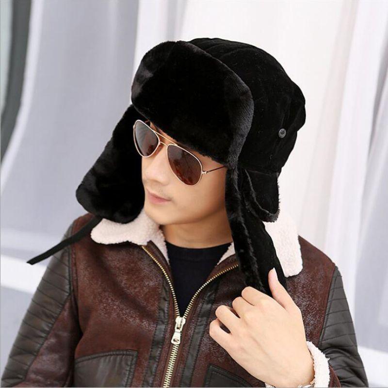 HT535 mode chaud hiver Bombers fantaisie russe fourrure chapeau pour hommes chaud russe Ushanka chapeaux solide couleur trappeur chapeaux en gros
