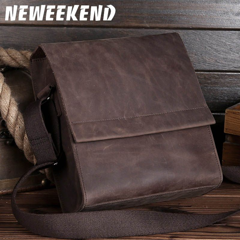 NEWEEKEND Retro Casual Genuine Leather Cowhide Crazy Horse Thin Slight Buckle Shoulder Crossbody iPad Bag for Man LS-0219