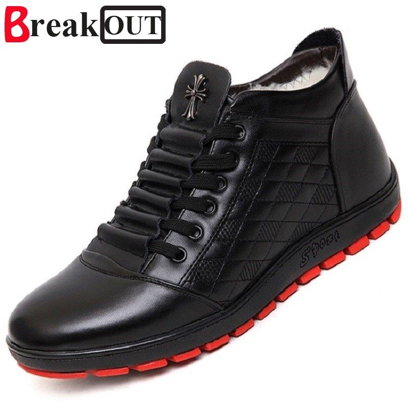 Break Out New Men Winter Boots Snow Boots for Men Ankle Boots Warm with Plush&Fur High Top Fashion Men Shoes